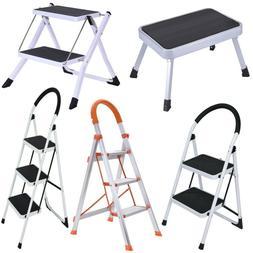 1/2/3 Step Ladder Folding Steel Step Stool Portable Mult Pur