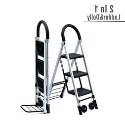 Delxo 2 in 1 Convertible 3 Step Ladder and Flodable Hand Tru