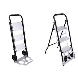 Utheing 330lbs 2 in 1 Convertible 3 Steps Ladder Cart Foldin