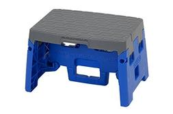 Cosco 1 Step Molded Folding Step Stool, Type 1A, Blue and Gr