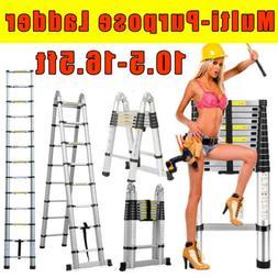 10.5/12.5/16.5FT Multipurpose Aluminum Ladder Fold Extend Te