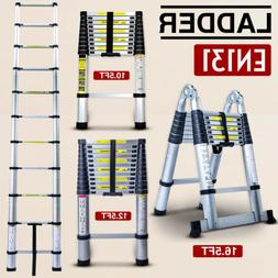 10.5/12.5/16.5FT Multipurpose Aluminum Ladder Fold Extend Te