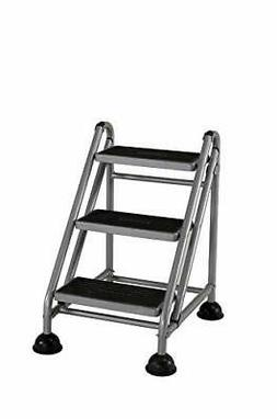 Bridgeport 11834GGB1 Rolling Commercial Step Stool, 3-Step,