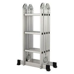 12.5 ft Folding Ladder Aluminum Multi Purpose Extension Ladd