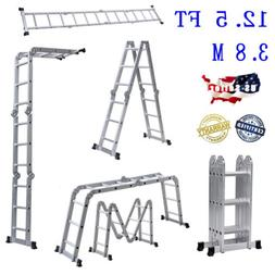 12.5 ft Folding Ladder Aluminum Multi Purpose Extension Ladd