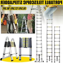 16.5Ft Folding  Ladder Aluminum Telescopic Extension Steps M