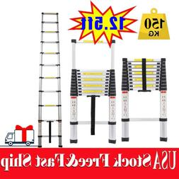 12.5ft Aluminum Telescoping Telescopic Ladder Industrial Hou
