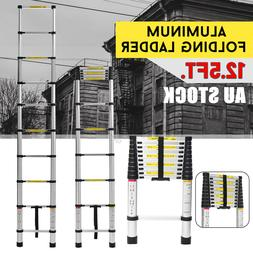 12.5Ft Folding Ladder Aluminum Multi-use Extension Foldable