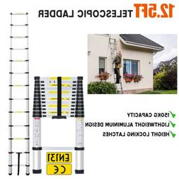 12.5FT Multipurpose Aluminum Ladder Extend Telescopic Garden