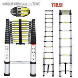 12.5FT Telescopic Extension Aluminum Step Ladder Folding Mul