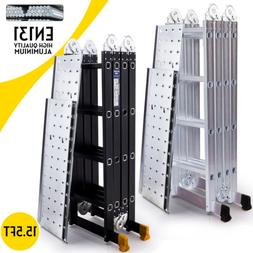15.5FT Aluminum Multi Purpose Ladder Extension Folding Teles