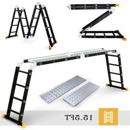 15.5FT Aluminum Multipurpose Ladder Telescoping Folding Exte