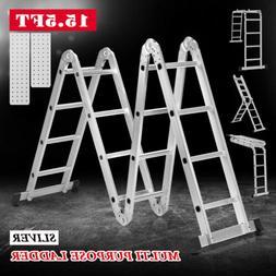 15.5FT Folding Extension Telescoping Ladder Aluminum 16 Step