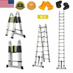 16.4FT Aluminium Ladders Telescoping Multi-Purpose Extend Fo