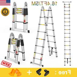 16.4FT Heavy Duty Multi-Purpose Folding Telescoping Ladder L
