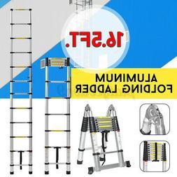 16.5Ft. Aluminium Folding Ladder Telescoping Multi-Purpose E