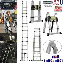 16.5Ft Folding Ladder Aluminum Telescopic Extension Steps Mu