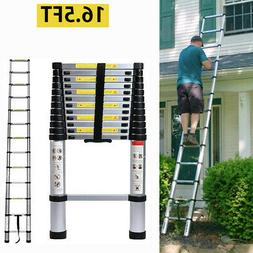 16.5Ft Aluminum Telescopic Extension Ladder Folding Step Mul