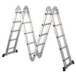 19.5 ft Folding Ladder Aluminum Multi Purpose Extension Ladd