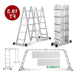 19.5FT Extension Multi Purpose Step Ladder Folding Portable
