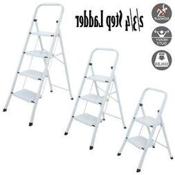 2/3/4 Step Ladder Steel Folding Platform Stool Non Slip Safe