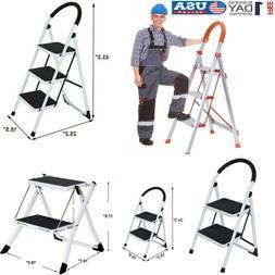 2 3 step ladder folding steel step