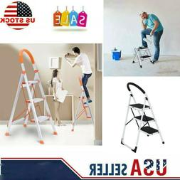 2/3 Step Ladder Folding Stepladder Aluminum Step Stool Ladde