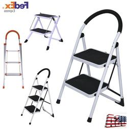 2/3 Step Ladder Folding Stool Steel Ladder With Handle Anti-