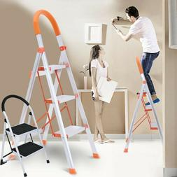 2/3 Step White Ladder Folding Stepladder Step Stool Ladder M
