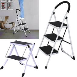 2/3Step Ladder Folding Step Stool Steel Ladder With Handle A