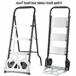 2-in-1 Convertible 3-Step Ladder Hand Truck Trolley Cart Fol