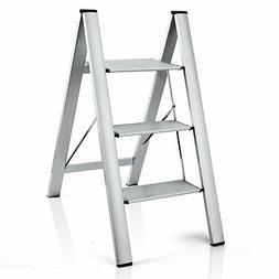 Delxo 2 in 1 Lightweight Aluminum 3 Step Ladder Stylish Invi