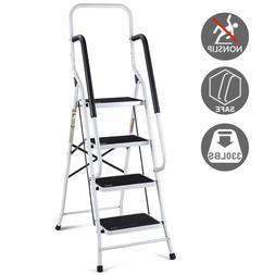 2 In 1 Non-slip 4 Step Ladder Folding Stool w/ Handrails 330