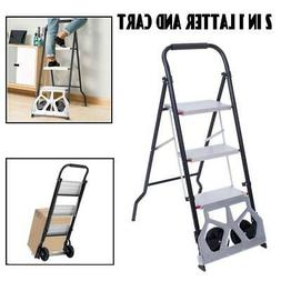 2-in-1 Practical 3-Step Ladder and Hand Truck Trolley Cart F