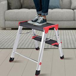 2 Step Aluminum Ladder Folding Non-Slip Platform 330Lbs Load