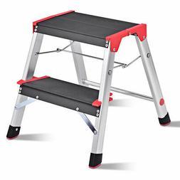 Folding Aluminum Lightweight Ladder 2 Step Non-Slip Platform