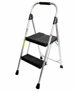Werner 2-Step Aluminum Step Stool Folding Ladder Multi Purpo