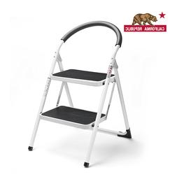 Delxo 2 Step Folding Stool Steel Ladder with 330 lbs Capacit