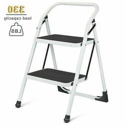 2 step ladder portable folding step stool