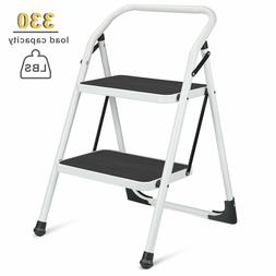 Delxo 2 Step Wide Pedal Sturdy Steel Ladder Ladder Portable