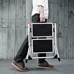 Delxo 2 Step Stool Stepladders Lightweight White Folding Ste