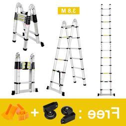 3.8M Aluminum Multi-purpose Telescopicing Foldble Ladder All
