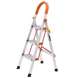 LUISLADDERS 3 Step Ladder Aluminum Lightweight Multi Purpose
