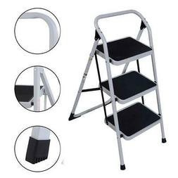 Protable 3 Step Ladder Folding Non Slip Safety Tread Heavy D