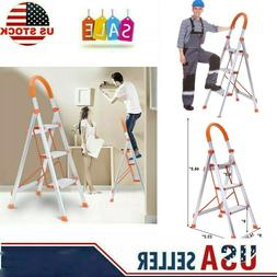 3 Step Aluminum Alloy Ladder Folding Steel Step Stool Anti-s