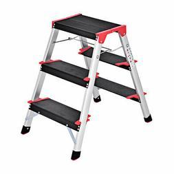 3 Step Aluminum Lightweight Ladder Folding Non-Slip Platform