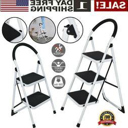 3 step ladder folding steel step stool