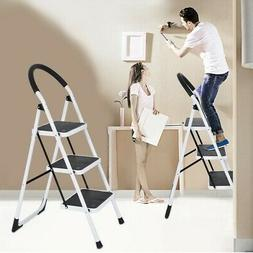 3 Step Ladder Folding Step Stool Steel Ladder With Handle An