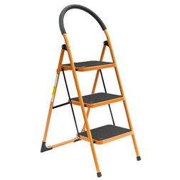 3 Step Ladder Portable Folding Step Stool with Anti-Slip Wid