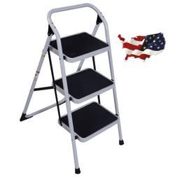 3 Step Portable Folding Ladder Non Slip Safety Tread Steplad